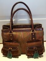 Authentic ETRO Logo Milano Hand Bag Paisley Fabric, leather handles/accent Italy
