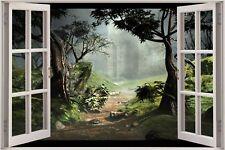 Cheap 3D Window view Fantasy Forest Wall Sticker Film Decal Wallpaper 713