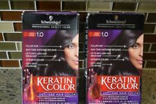 2 Boxes SCHWARZKOPF KERATIN COLOR #1.0 BLACK ONYX KIT