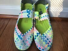 New Rock Spring Bright Pink Blue  and White Slip on Women's Shoes-  Euro Size 38