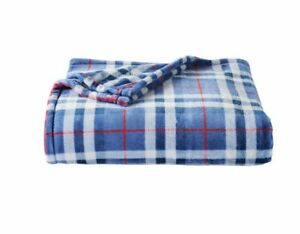 New The Big One Plush Blue Plaid Throw Blanket Oversized 5 ft x 6 ft