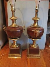 PAIR of Large Frederick Cooper Aged Brass Wood Urn/Trophy Style 3-Way Table Lamp