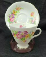 Vintage Royal Windsor Fine Bone China England Flowered Tea Cup Saucer NO STAND