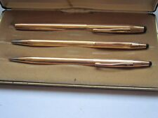 CROSS 14k Gold Filled Trio Ball Point/Pencil/Selectip Pen Set In Case