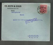 1914 Saaz Austria cover to Passau Judaica CH Roth & Sohn
