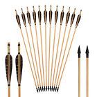 Archery Handmade Wooden Arrows Natural Turkey Feathers Outdoor Hunting Broadhead