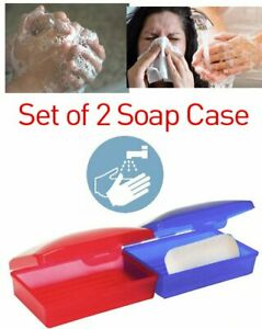 2 Soap Dispenser Dish Case Holder Container Box for Bathroom Travel Carry Case