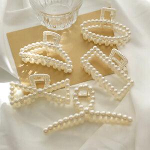 Women, Girls Large Hair Pearl Claw Hair Clips Hairpin Crab Wedding Accessories