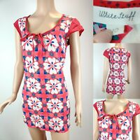 Women WHITE STUFF Red Long Floral Top Blouse Size 10 Pink/White/Blue Lightweight