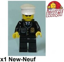 Lego - Figurine Minifig police policier chef casquette lunette cty0094 NEUF