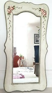 Vintage French painted wall mirror, shabby chic, chateau, floral, bohemian, boho