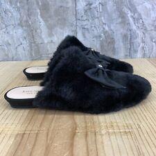 Kate Spade Jocelyn Black Faux Fur Size 7 Womens Mule Shoes