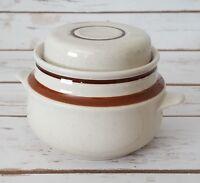 Yamaka Contemporary Chateau Sugar Bowl w/Lid Sienna Brown Stoneware Japan