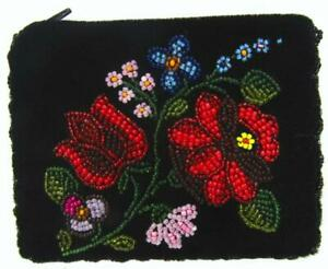 Beaded Coin Purse Black Velvet Flower Zipper 14 x 10.5 cm
