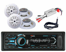 "Boss Boat SD AM FM iPod USB AUX Bluetooth Radio,5.25"" Speakers,Amplifier,Antenna"