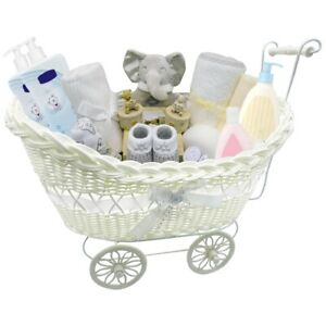 PRAM BASKET GIFT LARGE WICKER HAMPER FOR BOY GIRL NEW BORN BABY SHOWER PART