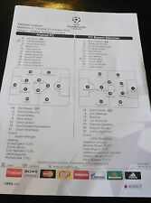 Arsenal V BAYERN MUNCHEN-Champions League teamsheet 20/10/15 - Munich