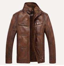 Mens Coats Parka Leather Fur Lined Stand Collar Jackets Winter Retro Warm Biker