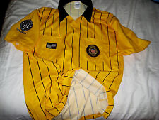 OFFICIAL SOCCER REFEREE EMBROIDERED LOGO 2 POCKET YELLOW SOCCER JERSEY-LNWOT- L