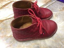 Authentic Gucci Red Leather Monogrammed Toddler Kids Boot Shoes Size (25) Unisex