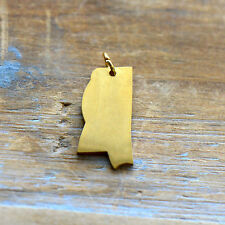 Mississippi State Charm - Brushed 24k Gold Plated Stainless Steel Pendant