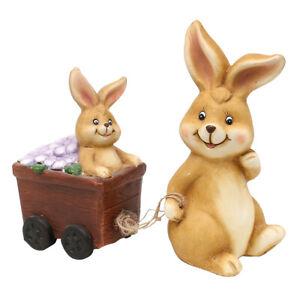 Sigro Keramik Osterhase Lucky mit Blumenwagen u. Hasenkind im Set Größe 18 cm