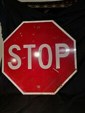 Authentic Vintage Large Metal Red Stop Sign - COOL!