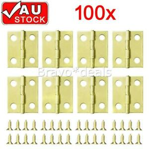 100X Small Mini Brass Plated Hinge Decorative Jewelry Box Hinges with Nails Kits