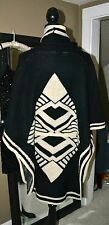 NWT BCBG WOMEN'S AZTEC BLACK/TAN PONCHO SWEATER ($248.) ~ SIZE SMALL/MEDIUM
