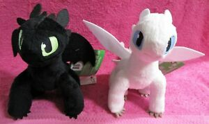 """How To Train Your Dragon Hidden World Toothless & Light Fury Plush 8"""" Set of 2"""