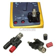 Black+Red BNC Male Plug to Two Dual Banana Jack RF Adapter Connector New