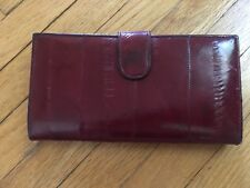 Eel Skin Checkbook French Wallet Coin Purse Burgundy Red