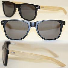 Original bambú gafas de sol retro Classic negro mate beige polarizado 984