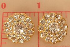 2 Czech thin gold metal buttons covered in large & smaller rhinestones 20mm #115