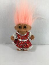 Vintage Russ Troll Doll Pink Hair And Red Dress