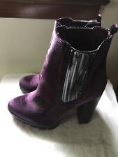 NEW Report Signature Women's Polk Chelsea Boot, Purple sz8.5 US Velour Heel