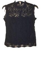 NANETTE LEPORE High Neck Lace Top mystic DARK NAVY blouse sz S NEW