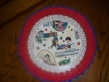 New Handmade Round Crochet Doily--Patriotic/Americana/Young Children w/Flag