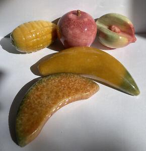 Alabaster Marble Stone Fruit Qty 5 Vibrant Colors Banana Apple Melon