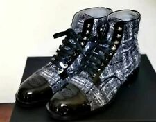 CHANEL Black/White Fabric/Leather Ankle Boots 39.5, Italy
