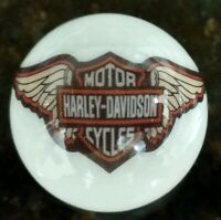 Rare Harley Davidson Winged Orange Bar & Shield On 1 Inch White Marble New