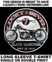 LUCKY 7 BAD ASS BIKER MOTORCYCLE RIDER CHOPPER LONG SLEEVE SKULL T-SHIRT WS620