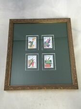 Vintage Nevis Stamps Collection of 4 Framed Bird Stamps St. Kitts Caribbean