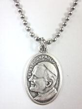 "St John Paul II Medal Pendant Necklace 24"" Ball Chain Gift Box & Prayer Card"