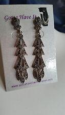 92.5 Sterling Silver Vintage Marcasite Long Stud Dangle Earrings USA