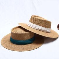 Chapeau Soleil en 100% Paille Chapeau de Canotier avec Ruban Chapeau de Paille