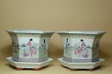 👀Pair Chinese Famille-Rose Porcelains Flower Pot With Bases.