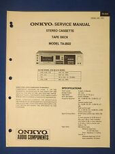 ONKYO TA-2022 CASSETTE SERVICE MANUAL ORIGINAL FACTORY ISSUE THE REAL THING