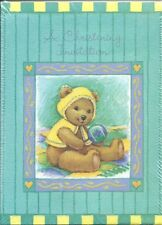 Christening Baptism Invitations 8 Pack Baby Teddy Bear Cards Notes Religious