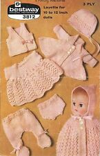 "Dolls clothes knitting pattern. Layette for  12"" Baby doll.(V Doll 75)"
